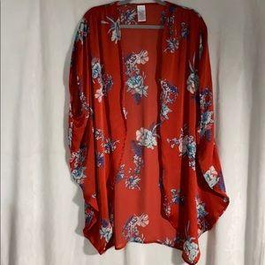 Time and Tru Orange Flower Kimono one size